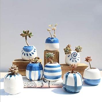 Pot Suculentas macetas, Cactus de cerámica Pintado a Mano/Hierbas/Flores, decoración casera para Sala de Estar y Perfecto Regalo Ideas 8 en Conjunto ...