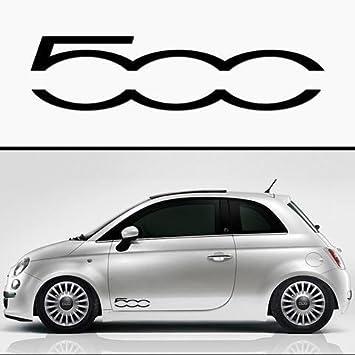 Myrockshirt 2x Fiat 500 500 Seitenstreifen Aufkleber Autoaufkleber Sticker Auto Bonus Testaufkleber Estrellina Glückstern Gedruckte Montageanleitung Waschanlagenfest Auto