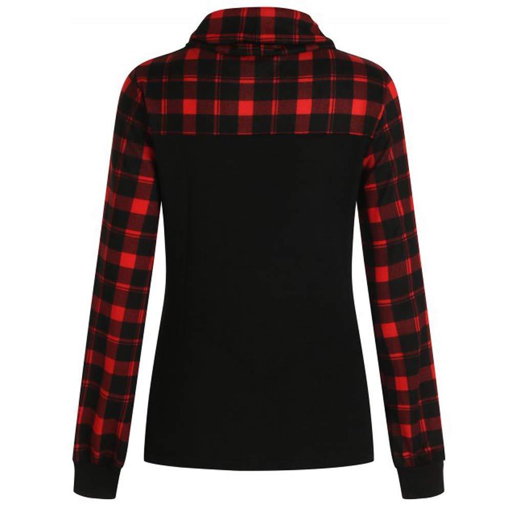 GIFC Fashion Blouse Women Long Sleeve Plaid Turtleneck Block Color Sweatshirt Pullover Tops