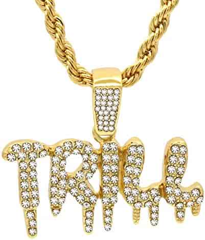 6f5d08cc1b2 L & L Nation 14k Gold Plated High Fashion Hip Hop Bling Cz Drip Trill  Pendant with 4 mm 24