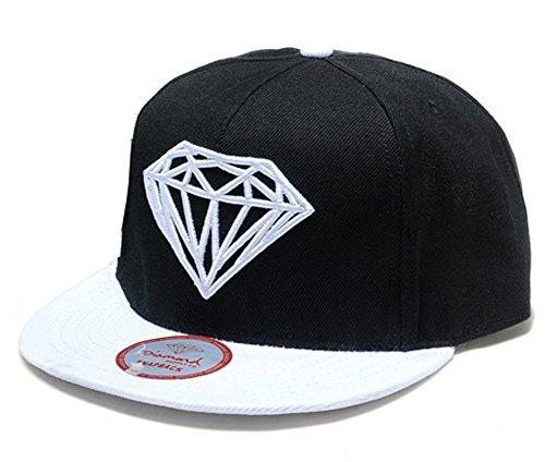 Ambiel Diamond Snapback Hip-Hop White Sport Baseball Cap