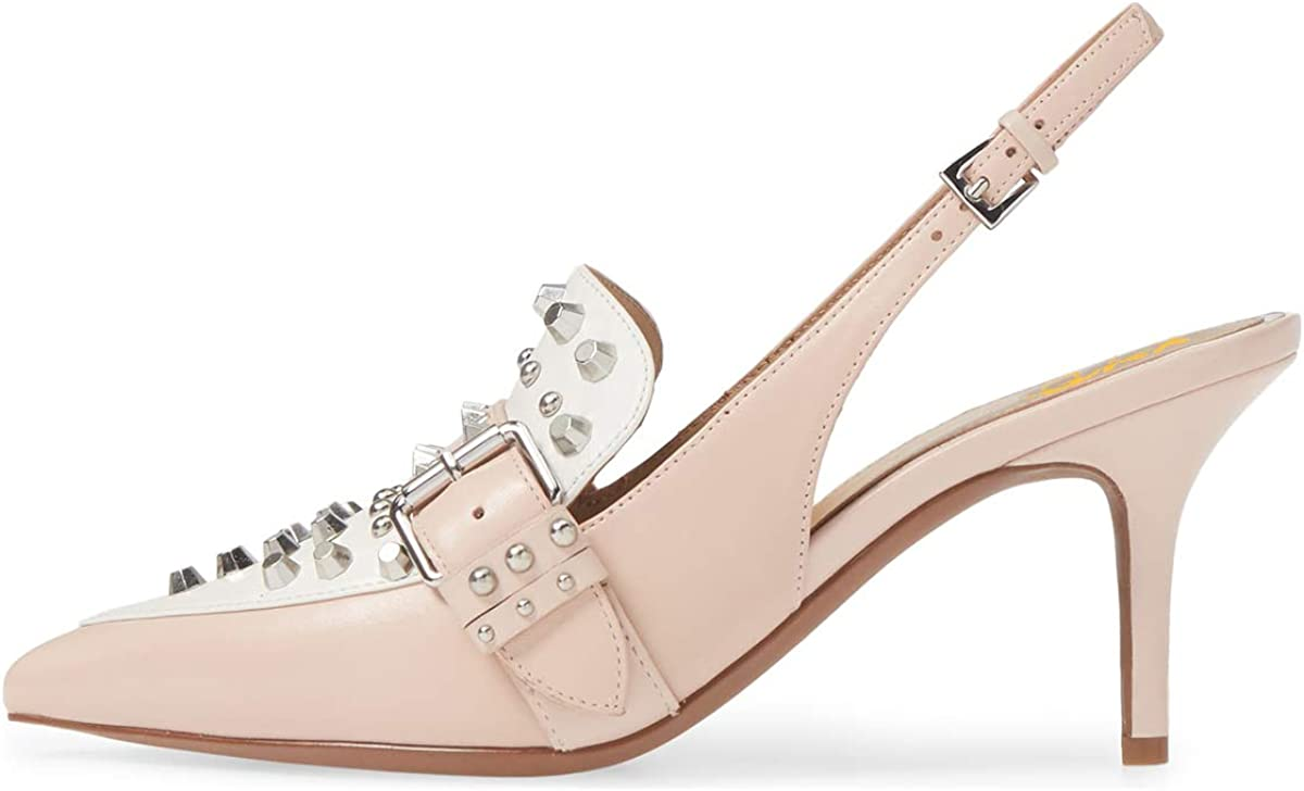 XYD Women Chic Rivets Studs Slingback Pumps High Heel Pointed Toe Sandals Punk Party Dress Shoes