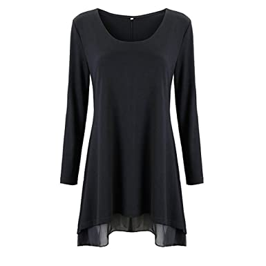 Longra® Womens T-Shirt Dress Layered Scoop Neck Tunic ❤ Casual Long Sleeves