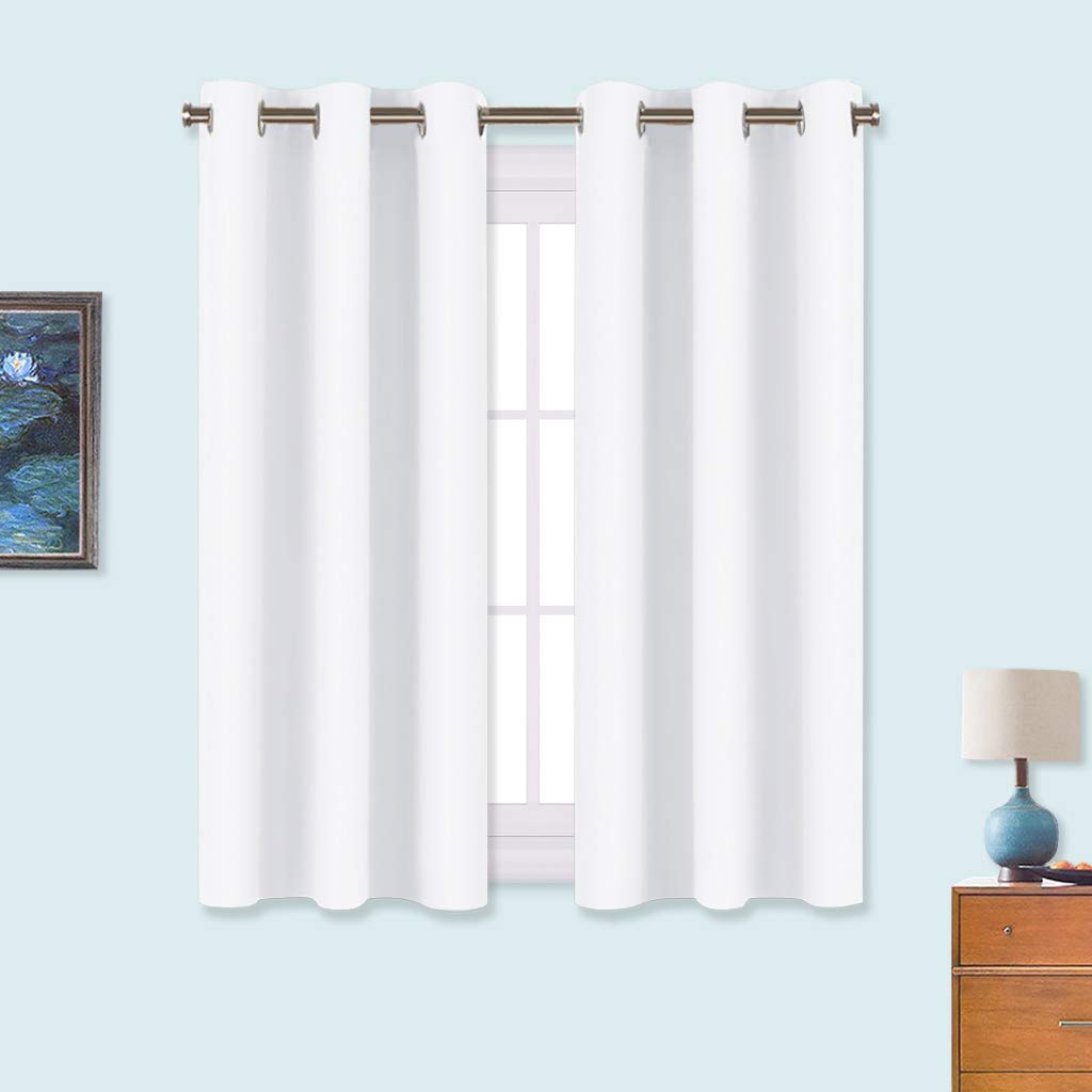 NICETOWN 50% Light Blocking Curtain Panels for Bedroom, Home Decoration Easy Care Solid Grommet Draperies/Drapes, Window Covering for Kitchen (2 Panels, 34 by 54, White)