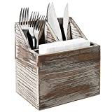 Rustic Torched Wood Tabletop Flatware, Utensil Caddy, Cutlery Organizer and Napkin Holder, 3 Compartment