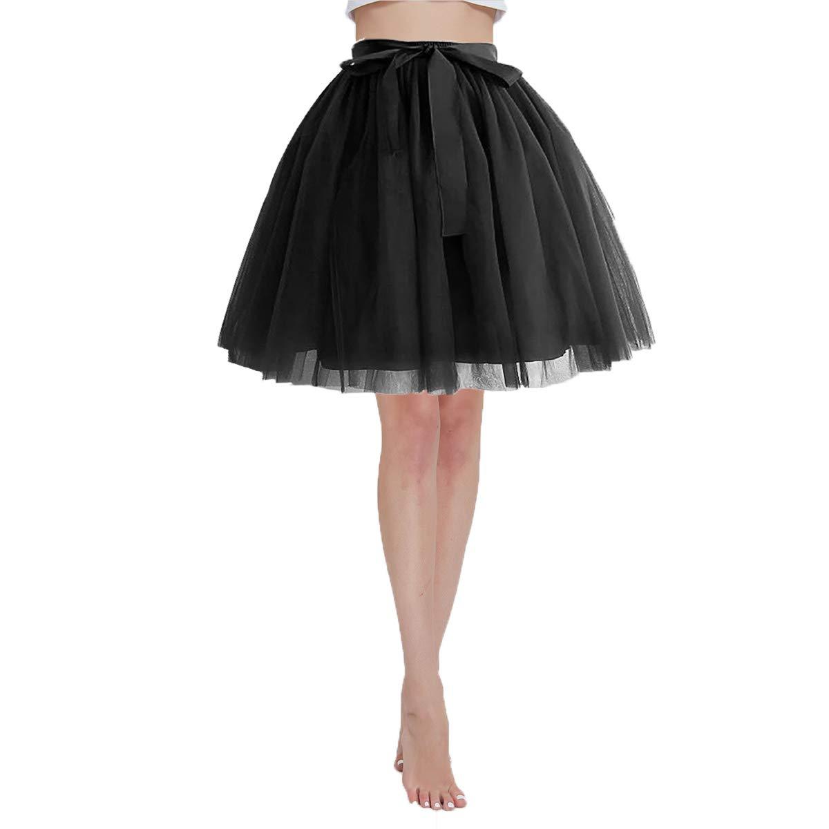 Women's High Waist Princess Tulle Skirt Adult Dance Petticoat A-line Short Wedding Party Tutu