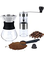 Fecihor Upgraded version Portable Manual Coffee Grinder + Pour Over Coffee Maker set, big screw and Anti-hot design, Pour Over Brewer, Hand Manual Coffee Dripper, Perfect for Traveling to brew Pour Over, Drip, Cold Brew