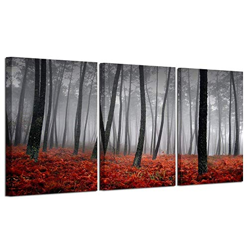 Kreative Arts 3 Pieces Canvas Prints Modern Beautiful Autumn Nature Scenery Painting Wall Art Black and White Trees Foggy Forest with Red Leaves On Ground Canvas Decor for Home Artwork