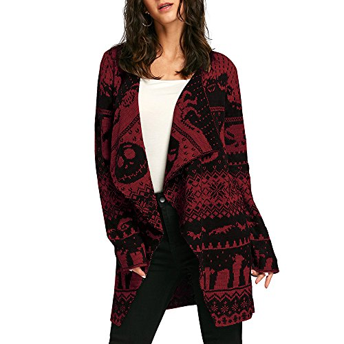 Dezzal Women's Long Sleeve Collarless Skulls Pattern Knitted Open Front Cardigan