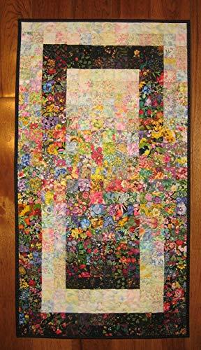 Art Flowers Quilt (Wall Art, Flower Garden Window Fabric Wall Hanging Art Quilt 40 x 22