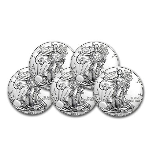 2018 Lot of (5) 1-Ounce American Silver Eagle $1 .999 Fine Silver Brilliant Uncirculated US Mint