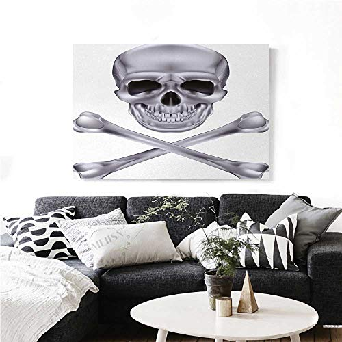 homehot Silver The Picture for Home Decoration Vivid Skull and Crossbones Dangerous Scary Dead Skeleton Evil Face Halloween Theme Customizable Wall Stickers 24