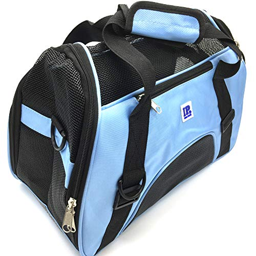 IrisPets Pet Airline Travel Approved Airport Pet Carrier, Soft Sided Portable Folding Under Seat Air Travel Pet Carriers Bag for Small Puppy/Cats Small Animals – Blue For Sale