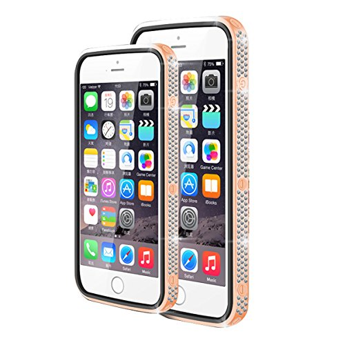 LOVE MEI 24K Gilt Border Czech Chaton and Leather Cover Case for iPhone 6 4.7 - Rose Gold