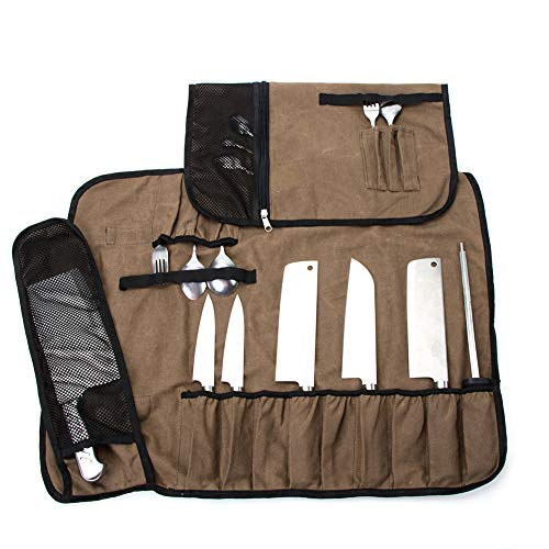 (Waxed Canvas Chef's Knife Roll Bag,Multi-Purpose Knife Cases, Knife Roll With 17 Utility Pocket Can Hold 13 Knives, 1 Meat Cleaver, And 3 Utensil! Durable Knife Carrier Stoarge Pouch With Handle)