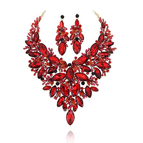 SP Sophia Collection Austrian Crystal Women's Peacock Flair Necklace and Earrings Jewelry Set in Gold Red