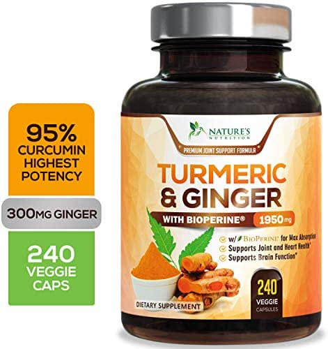 Turmeric Curcumin Highest Potency 95% Standardized with BioPerine and Ginger 1950mg - Black Pepper for Best Absorption, Made in USA, Best Vegan Joint Pain Relief, Turmeric Ginger Pills - 240 Capsules