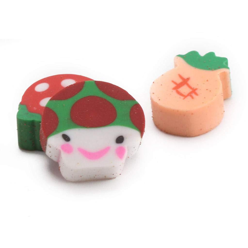 50PCS Cute Gift for Kid Drawing Rubber Eraser Set Novelty Mini Fruit Pencil Eraser Set Stationery Children Gifts (Multicolor)