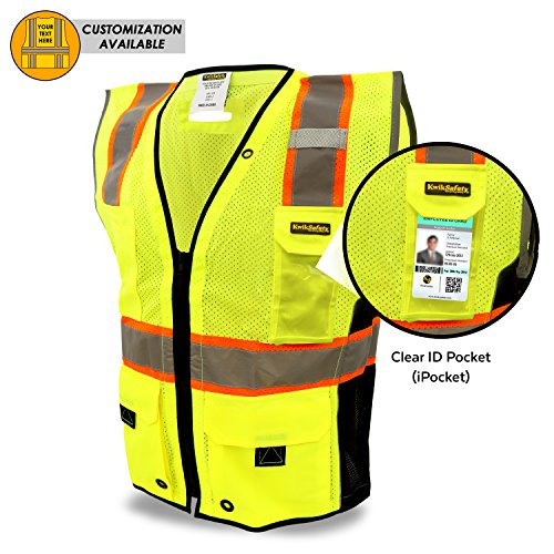 KwikSafety EXTENDED SIZING | TOP DOG Class 2 iPocket Safety Vest | 360° High Visibility Reflectivity ANSI Compliant Work Wear | Hi Vis 8 Pocket Breathable Mesh | Men & Women | Yellow 2XL/3XL (Dog Safety Safety Vest)