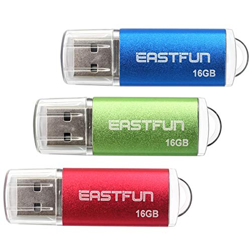 EASTFUN 3 Pack 16GB USB 2.0 Flash Drive Memory Stick Thumb Drive Thumb Stick Jump Drive Zip Drive Pen Drive,with LED…
