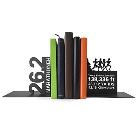 Gone For A Run Running Metal Bookends | Decorative | Nonskid | 26.2 Math  Miles |