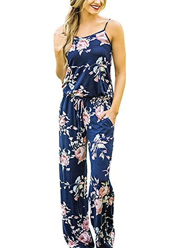 Xuan2Xuan3 Women Sexy Sleeveless Spaghetti Strap Waist Tie Floral Print Wide Leg Long Pant Casual Loose Jumpsuit Romper Blue Medium (Dress Flower Jumper Womens)