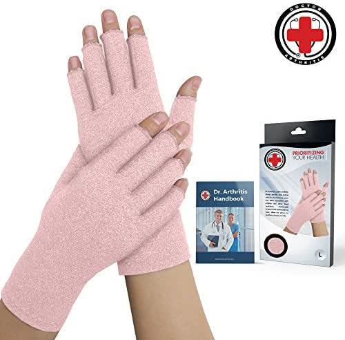 Doctor Developed Pink Ladies Arthritis Compression Gloves and Doctor Written Handbook -Relieve Arthritis Symptoms, Raynauds Disease & Carpal Tunnel (Small)