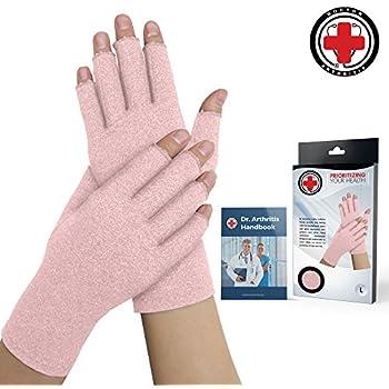 Doctor Developed Pink Ladies Arthritis Compression Gloves and Doctor Written Handbook -Relieve Arthritis Symptoms, Raynauds Disease & Carpal Tunnel (Medium)