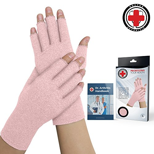 Doctor Developed Pink Ladies Arthritis Compression Gloves and Doctor Written Handbook -Relieve...
