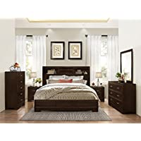 Montana 6-PC Walnut Modern Wood Bedroom Set, Queen Bed, Dresser&Mirror, 2 Nightstands, Chest