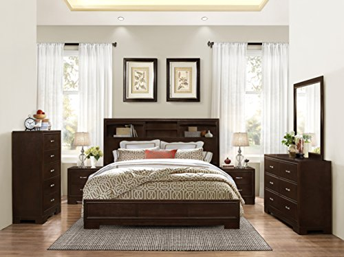 Montana 6-PC Walnut Modern Wood Bedroom Set, Queen Bed, Dresser&Mirror, 2 Nightstands, Chest by FurnitureMaxx
