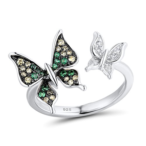 Green Plated Ring Silver (Santuzza 925 Silver Butterfly Ring Green Spinel (rhodium-plated-silver, 5))