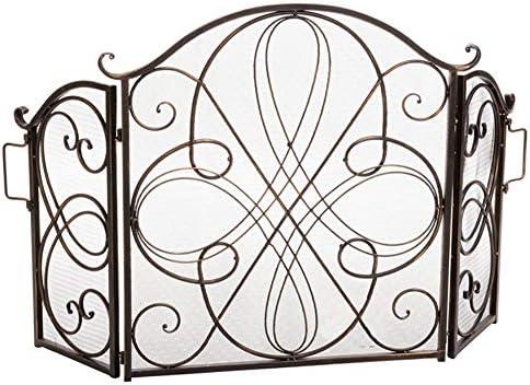 暖炉ガード 華やかな錬鉄の暖炉のスクリーン、安全サラウンドスパークは、屋外薪ストーブ、アーチやスクロールのデザインのためのメッシュ (Color : Gold bronze)