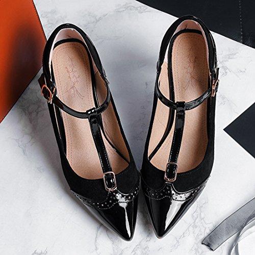 Schwarz Riemchem Schuhe YE Stiletto mit Heels Lack Damen T High Pumps Strap Spitze Elegant qwvRaqOx