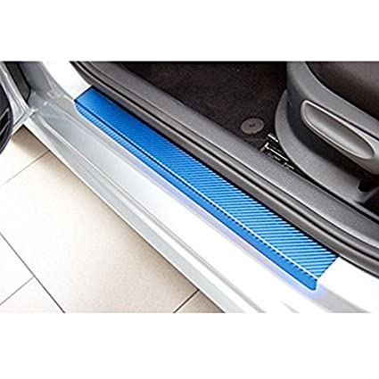 4pcs//set Zantec Sedan Hatchback Car Door Sill Scuff Pedal Car Door Plate Car Sticker Protective Accessories 3D carbon fiber sticker 4pcs//set 3D carbon fiber sticker ,Color blue