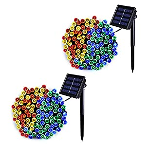 JMEXSUSS 2 Pack Solar String Light 100LED 42.7ft 8 Modes Solar Christmas Lights Waterproof for Gardens, Wedding, Party, Homes, Christmas Tree, Curtains, Outdoors (Multicolor)