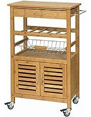 SoBuy szafka narożna kuchenna na butelki wózek kuchenny z 2 drzwiami z 1 szuflada FKW53-N