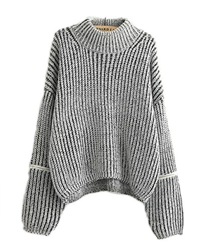 - Lingswallow Women Chic Turtleneck Cable Knit Long Sleeve Pullover Sweater Grey