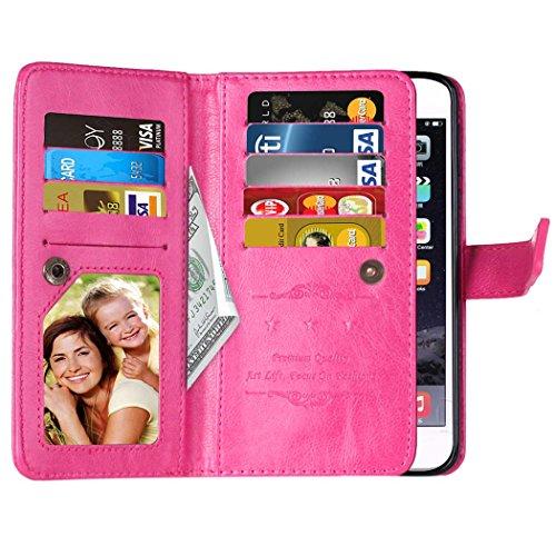 Voguecase® Pour Apple iPhone 7 Plus 5,5 Coque, Étui en cuir synthétique chic avec fonction support pratique pour iPhone 7 Plus 5,5 (9 emplacements-Rose)de Gratuit stylet l'écran aléatoire universelle