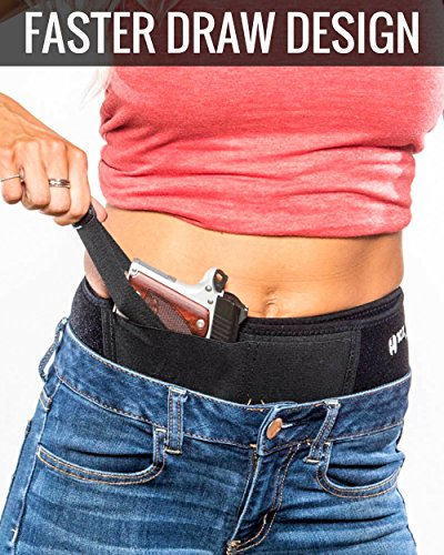 10X TACTICAL Belly Band Holster - Best for Concealed Carry [FASTER DRAW SPEED]   Men & Women   IWB - Inside Waistband Gun Belt   Fits Glock 19 - 43 S&W M&P Shield XDS 9mm 380 LC9s Ruger LCP and More