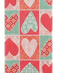 "Valentine's Day Hearts Patchwork Vinyl Flannel Back Tablecloth (52"" x 70"" Oblong)"