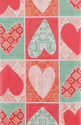 Mainstream Valentine's Day Hearts Patchwork Vinyl Flannel Back Tablecloth (52