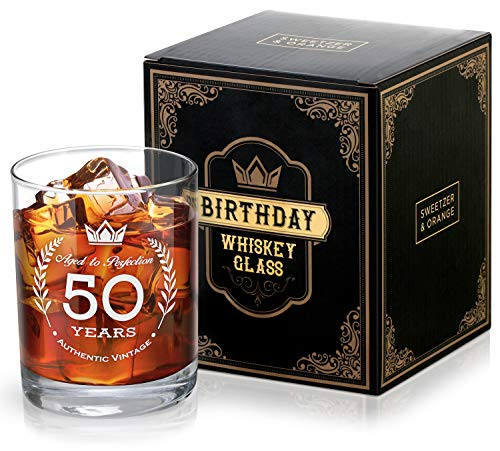 SWEETZER & ORANGE 50th Birthday Whiskey Glass for Men and Women - Vintage Style Lead-Free Crystal Rocks Glass Gift Idea for Bourbon and Scotch Drinkers, Mom, Dad, Husband, Wife, Party Favors, Toasts