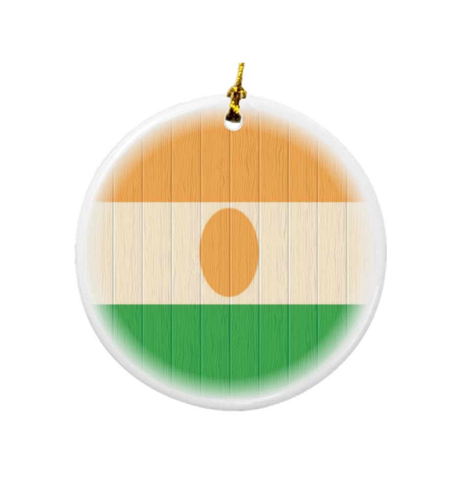 Rikki Knight Niger Flag on Distressed Wood Design Round Porcelain Two-Sided Christmas Ornaments