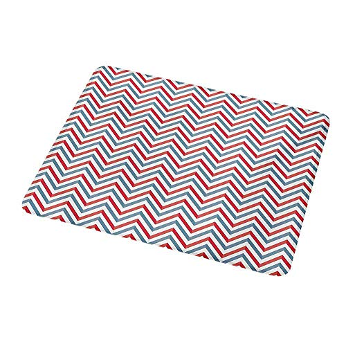 Art Mousepad Retro,Zig Zag Chevron Style Geometric Pattern Design in Pastel Colors Print,Pale Blue Red and White,Standard Size Rectangle Non-Slip Rubber Mousepad 9.8