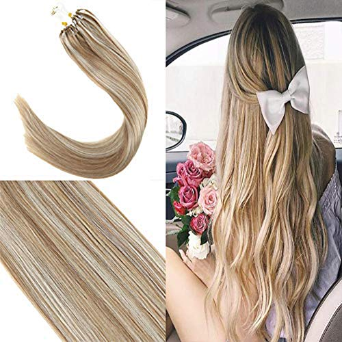 Youngsee 14quot Remy Straight Micro Beads Human Hair Extensions Caramel Blonde With Bleach Blonde Micro Rings Beads Tipped Real Hair Extensions