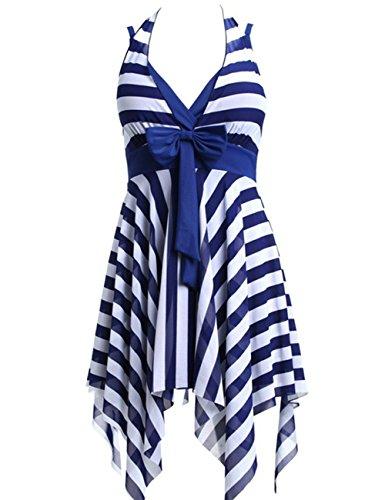 Aidonger Para Mujeres de la V Cuello Halter De La Correa Vestir del Playa raya monokini Azul
