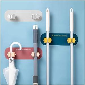 6 Pcs Broom Mop Holder Wall Mounted, Self Adhesive No Drilling Non-Slip Storage Organizer for Home Kitchen Garden Garage Storage Systems