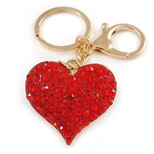 (Avalaya Hot Red Crystal Puffed Heart Keyring/Bag Charm in Gold Tone Metal - 8cm L)