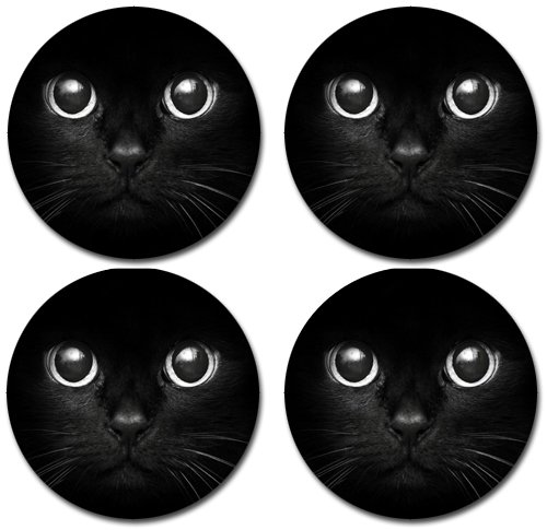 Black Cat Neoprene Rubber Backed Round Beverage Coasters (Set of Four)